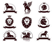 Lions logotypes set — Stock Vector