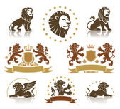 Emblems Set with Heraldic Lions — Stock Vector