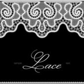 White lace on black — Stock Vector