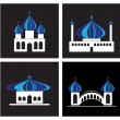 Temple icons set - Stock Vector