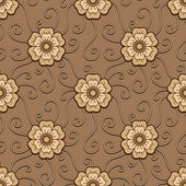 Chocolate flowers pattern — Stock Vector
