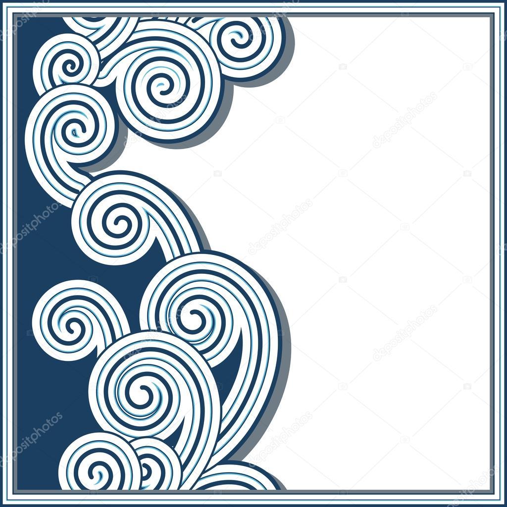 蓝色波浪背景与无缝边框– 图库插图