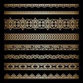 Set di bordi oro — Vettoriale Stock