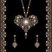 Gold jewelry set on black — Stock Vector