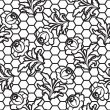 Seamless lace rose pattern — Stock Vector