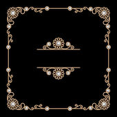 Square gold jewelry frame — Stock Vector