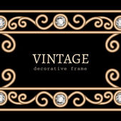 Gold border frame on black — Vettoriale Stock