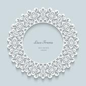Round paper lace frame — Stockvektor