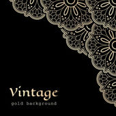 Vintage gold corner lace — Stock Vector