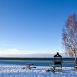 Berbecue place in winter — Stock Photo