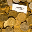 Prize sign at a stack of golden coins — Stock Photo