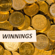 Stock Photo: Winnings sign at coin stack