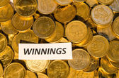 Winnings sign at a coin stack — Stock Photo
