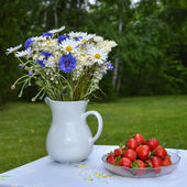 Strawberries and summer flowers — Stock Photo