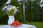 Summerflowers and strawberries — Stock Photo