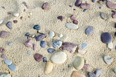 Untouched sandy beach with pebbles — Stock Photo