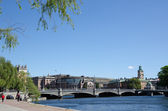 Old bridge in the city of Stockholm - capital of Sweden — Stock Photo