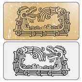 Double maya snake Quetzalcoatl ouroboros — Stock Vector