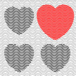 Royalty-Free Stock Imagem Vetorial: Stripes hearts seamless