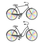 Bicycles with rainbow wheels — Cтоковый вектор