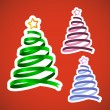 Christmas ribbon trees set - Stock Vector