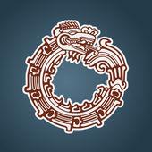 Maya snake Quetzalcoatl ouroboros — Stock Vector