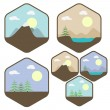 Landscape icon set — Stock Vector