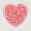 Labyrinth heart seamless — Stockvectorbeeld