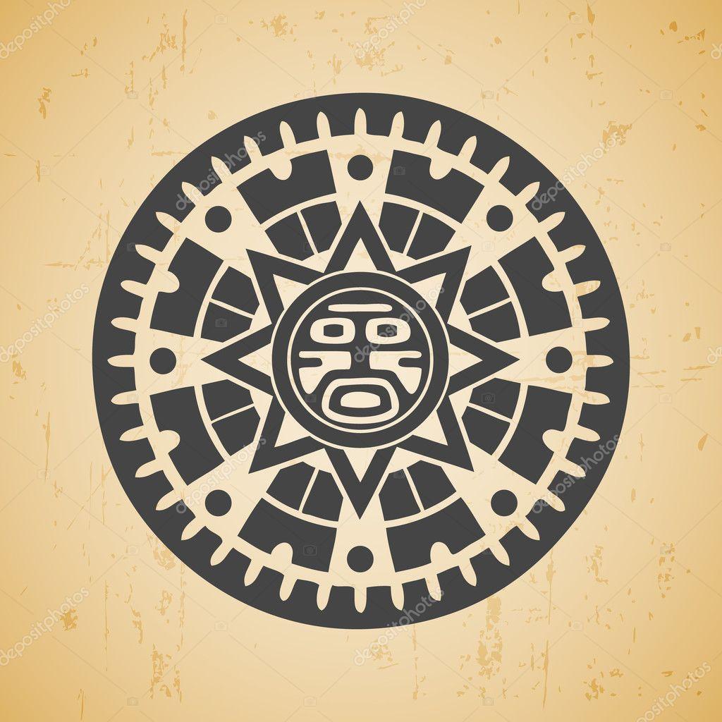 Рисунок солнца у майя