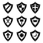 conjunto de escudos preto — Vetorial Stock  #26392055