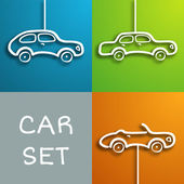 Paper car set — Stock Vector