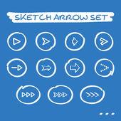 Sketch arrow set — Stock Vector