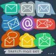 Mail sketch set — Stock Vector