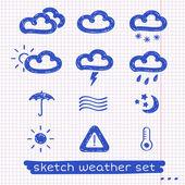 Weather sketch set — Stock Vector