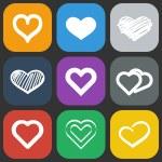 Hearts icons set — Stock Vector