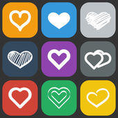 Hearts icons set — Stockvektor