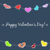 Sketch hearts garland — Stock Vector