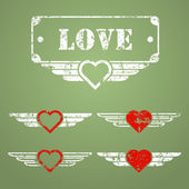 Military style love emblems — Stok Vektör