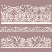 White and black seamless lace set — Stock Vector