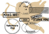 Valentines Day rubber stamps — ストックベクタ