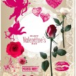 Valentines Day scrapbook elements. — Stock Vector