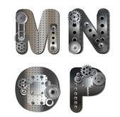 Vector mechanical alphabet of gears — Stock Vector