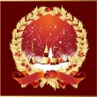 Vector wreath ribbons snow globe — Cтоковый вектор