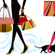 Woman sexy legs with bags. Shopping. — Stock Vector #39902701