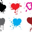 Stock Vector: Heart and splash, ink drops.