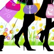 Vector illustration, woman sexy legs with bags. Shopping. — Stock Vector #39904161