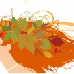 Dekoratif sonbahar ile kadın silüeti bırakır — Stok Vektör
