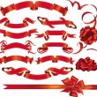 Stock Vector: Set of red ribbons and bows