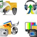Set of multimedia internet icon — Stock Vector