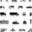 Vector collection of transportation silhouettes — Vecteur